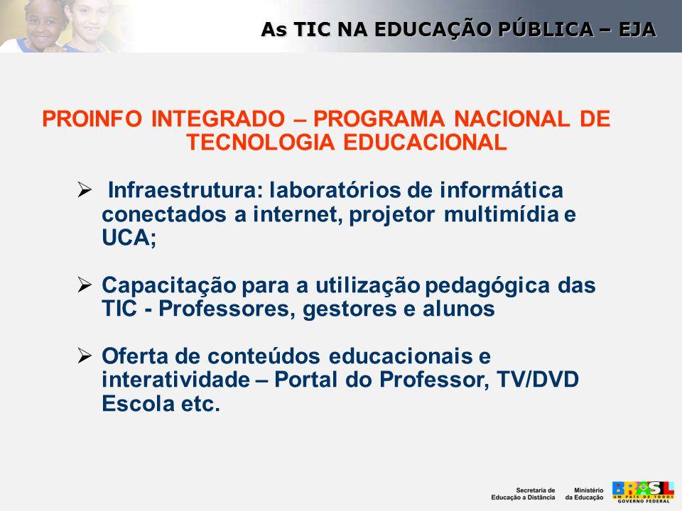 PROINFO INTEGRADO – PROGRAMA NACIONAL DE TECNOLOGIA EDUCACIONAL  Infraestrutura: laboratórios de informática conectados a internet, projetor multimíd