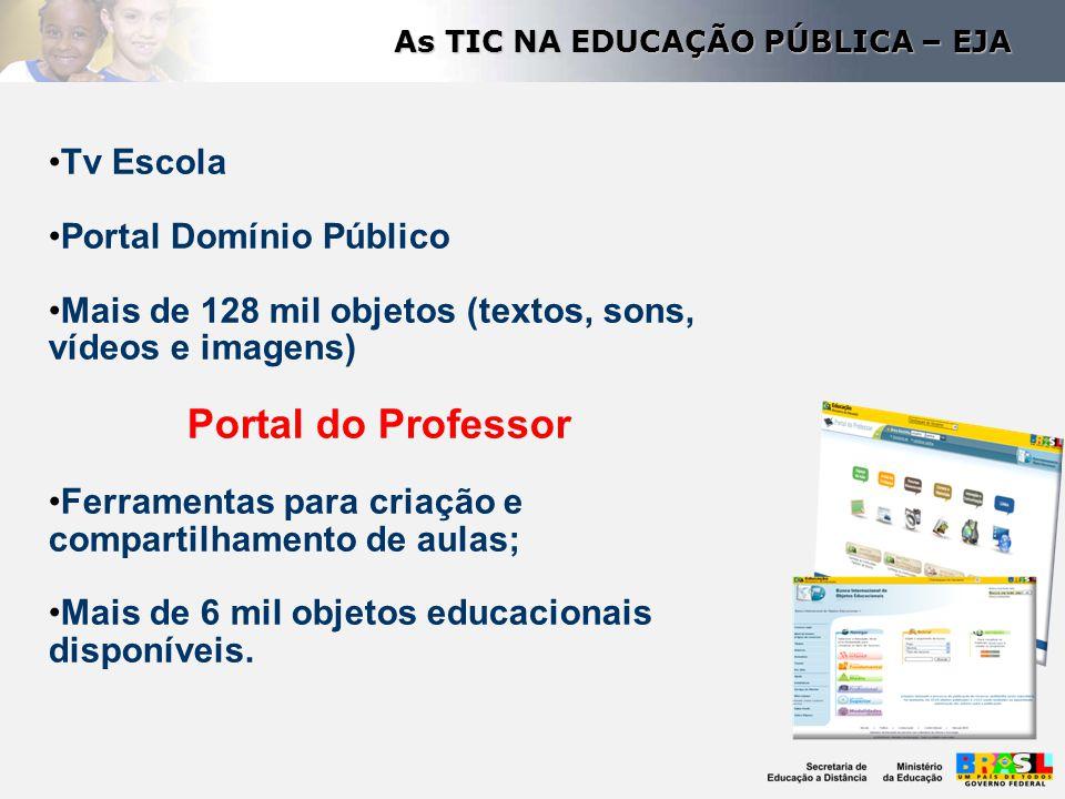 Tv Escola Portal Domínio Público Mais de 128 mil objetos (textos, sons, vídeos e imagens) Portal do Professor Ferramentas para criação e compartilhame