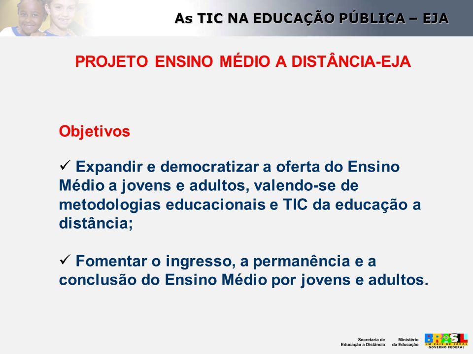 PROJETO ENSINO MÉDIO A DISTÂNCIA-EJA Objetivos Expandir e democratizar a oferta do Ensino Médio a jovens e adultos, valendo-se de metodologias educaci