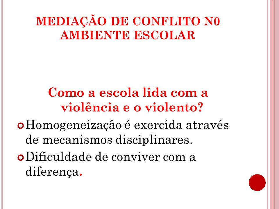 MEDIAÇÃO DE CONFLITO N0 AMBIENTE ESCOLAR Como a escola lida com a violência e o violento.
