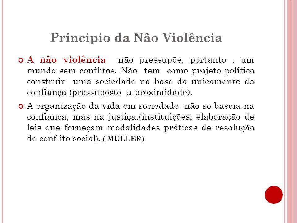 Principio da Não Violência A não violência não pressupõe, portanto, um mundo sem conflitos.
