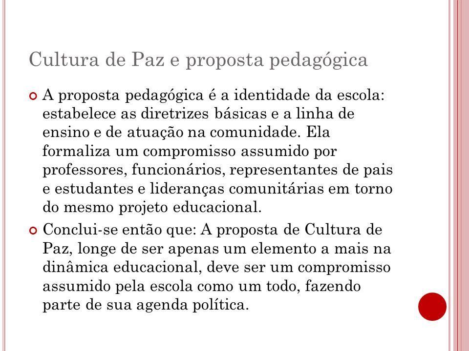 Cultura de Paz e proposta pedagógica A proposta pedagógica é a identidade da escola: estabelece as diretrizes básicas e a linha de ensino e de atuação na comunidade.