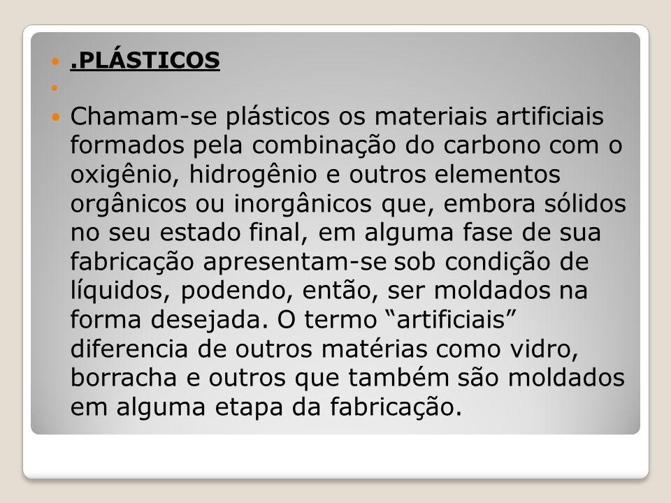 .PLÁSTICOS Chamam-se plásticos os materiais artificiais formados pela combinação do carbono com o oxigênio, hidrogênio e outros elementos orgânicos ou