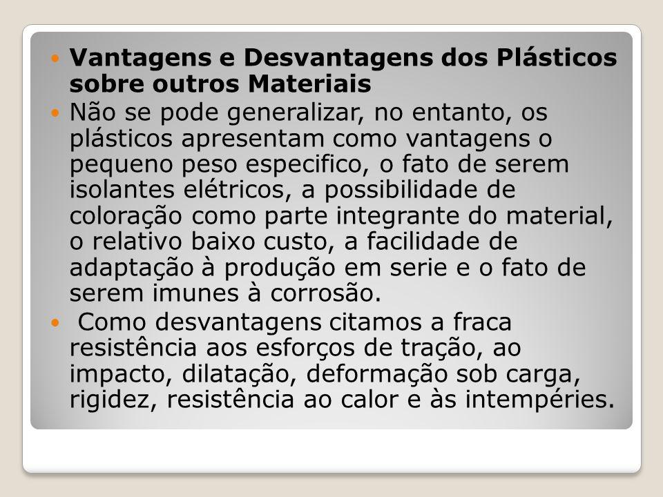 Vantagens e Desvantagens dos Plásticos sobre outros Materiais Não se pode generalizar, no entanto, os plásticos apresentam como vantagens o pequeno pe