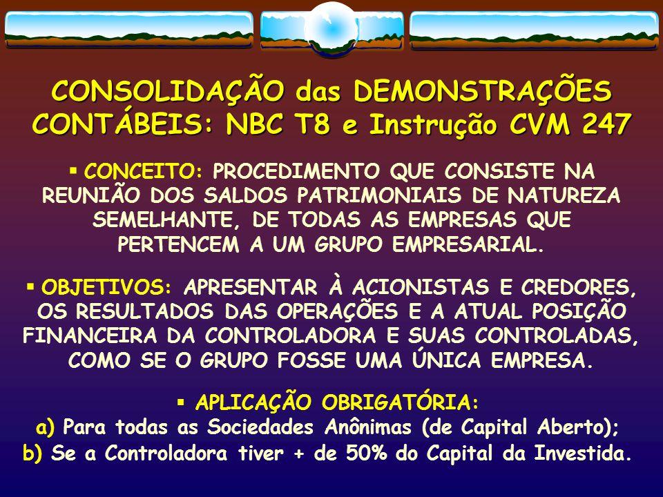 OBRIGATORIEDADE DA PUBLICAÇÃO DAS DEMONSTRAÇÕES CONSOLIDADAS *JUNTO COM A DEMONSTRAÇÃO DA CONTROLADORA: NBC T-6  RELATÓRIO DA DIRETORIA: informações aos acionistas sobre o desempenho anual, a conjuntura econômica e as perspectivas futuras de resultados, expansão, ótica social.