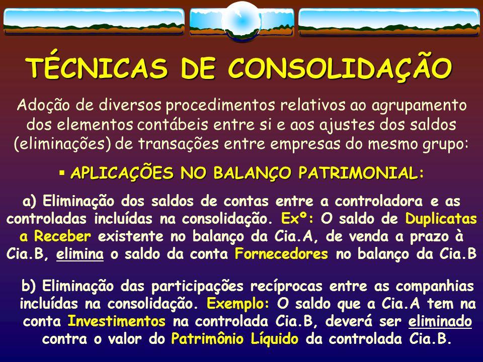 TÉCNICAS DE CONSOLIDAÇÃO Aplicações na DEMONSTRAÇÃO do RESULTADO *DRE Todas  Aplicações na DEMONSTRAÇÃO do RESULTADO *DRE Todas as receitas e despesas decorrentes de negócios ocorridos entre a controladora e as controladas incluídas na consolidação, devem ser eliminadas a fim de que o resultado consolidado represente apenas o lucro ou prejuízo obtido nas operações com terceiros (estranhos ao grupo empresarial).