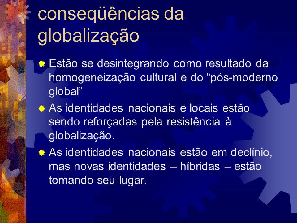 """Identidades nacionais: conseqüências da globalização  Estão se desintegrando como resultado da homogeneização cultural e do """"pós-moderno global""""  As"""