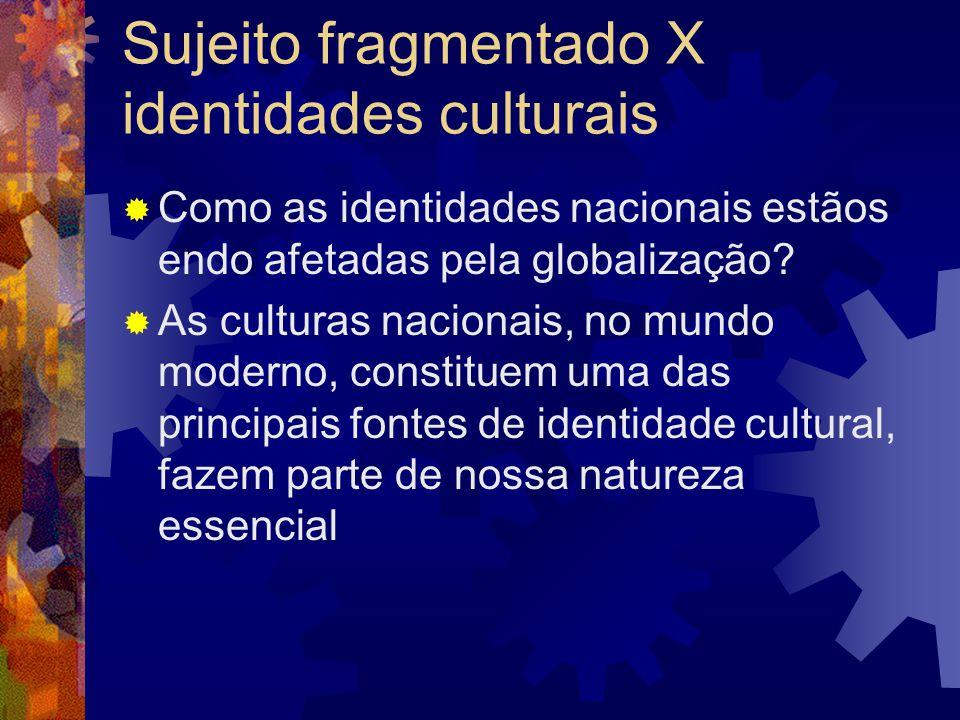 Sujeito fragmentado X identidades culturais  Como as identidades nacionais estãos endo afetadas pela globalização?  As culturas nacionais, no mundo
