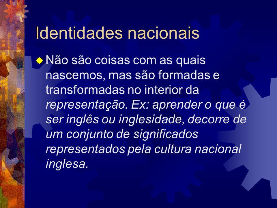 Identidades nacionais  Não são coisas com as quais nascemos, mas são formadas e transformadas no interior da representação. Ex: aprender o que é ser