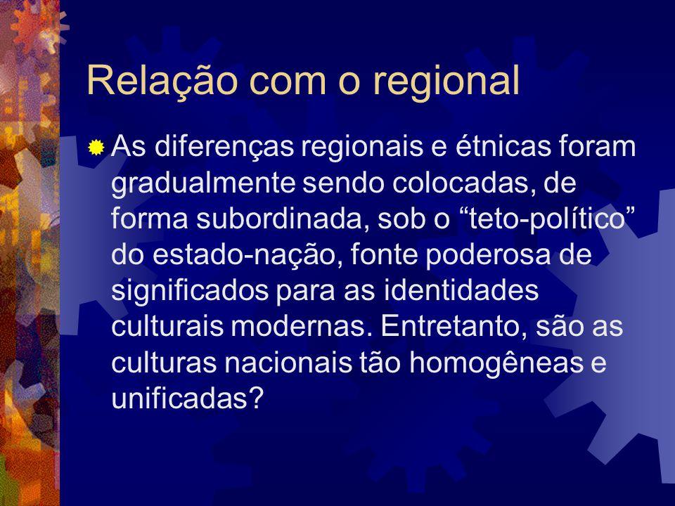 """Relação com o regional  As diferenças regionais e étnicas foram gradualmente sendo colocadas, de forma subordinada, sob o """"teto-político"""" do estado-n"""