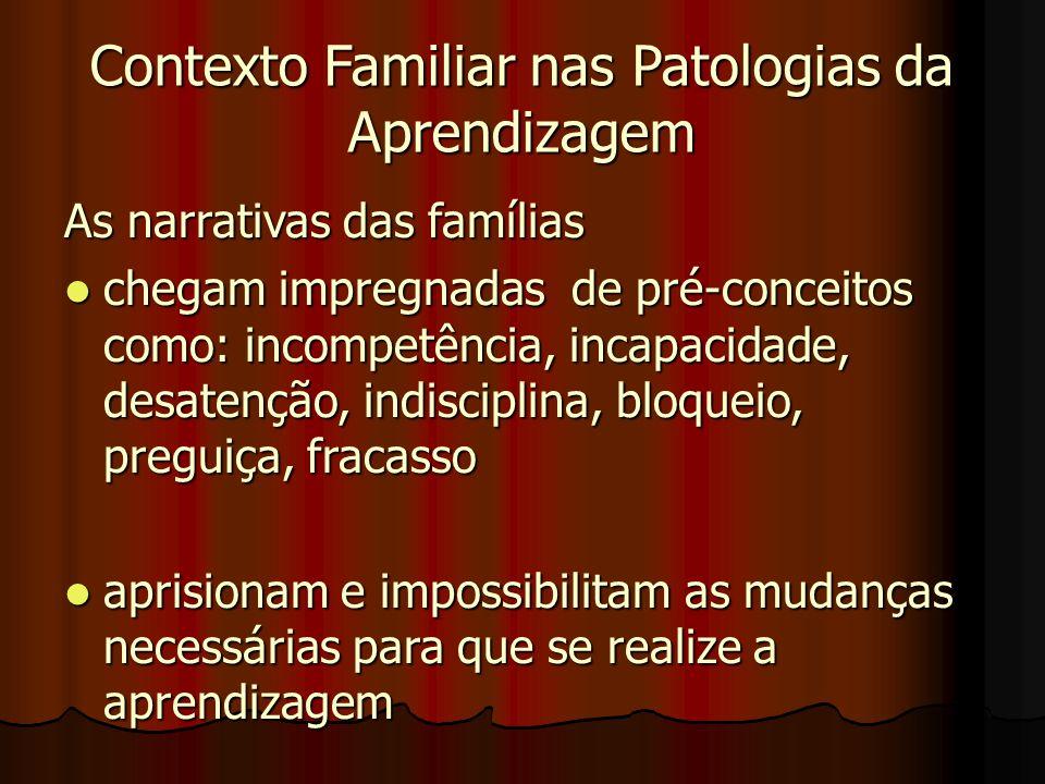 Contexto Familiar nas Patologias da Aprendizagem As narrativas das famílias chegam impregnadas de pré-conceitos como: incompetência, incapacidade, desatenção, indisciplina, bloqueio, preguiça, fracasso chegam impregnadas de pré-conceitos como: incompetência, incapacidade, desatenção, indisciplina, bloqueio, preguiça, fracasso aprisionam e impossibilitam as mudanças necessárias para que se realize a aprendizagem aprisionam e impossibilitam as mudanças necessárias para que se realize a aprendizagem