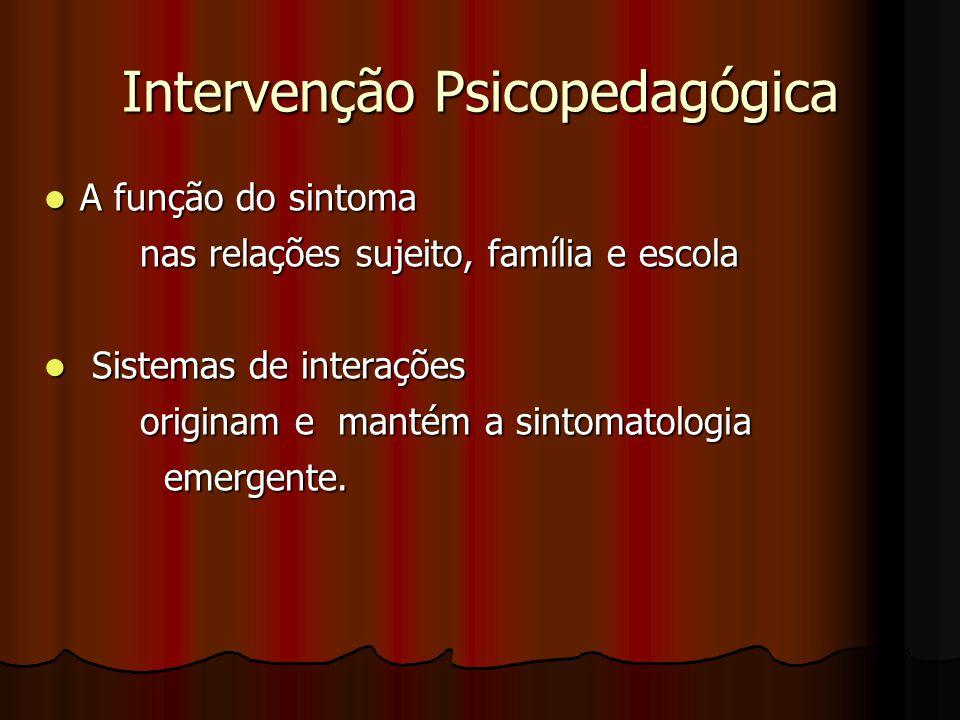 Intervenção Psicopedagógica A função do sintoma A função do sintoma nas relações sujeito, família e escola Sistemas de interações Sistemas de interações originam e mantém a sintomatologia emergente.