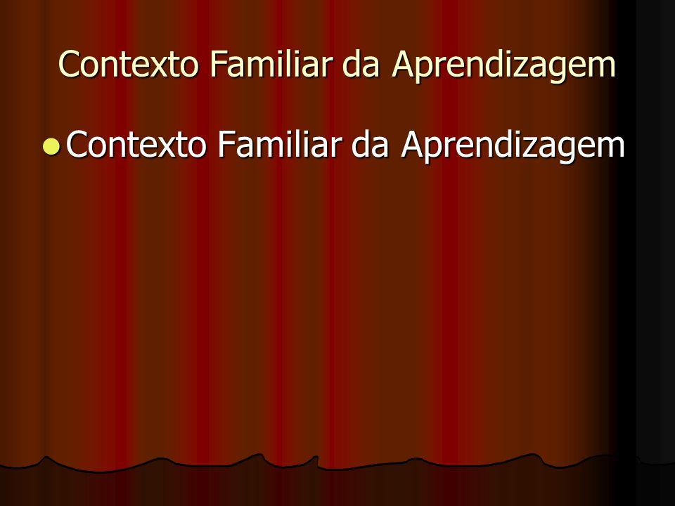 Contexto Familiar da Aprendizagem Contexto Familiar da Aprendizagem Contexto Familiar da Aprendizagem