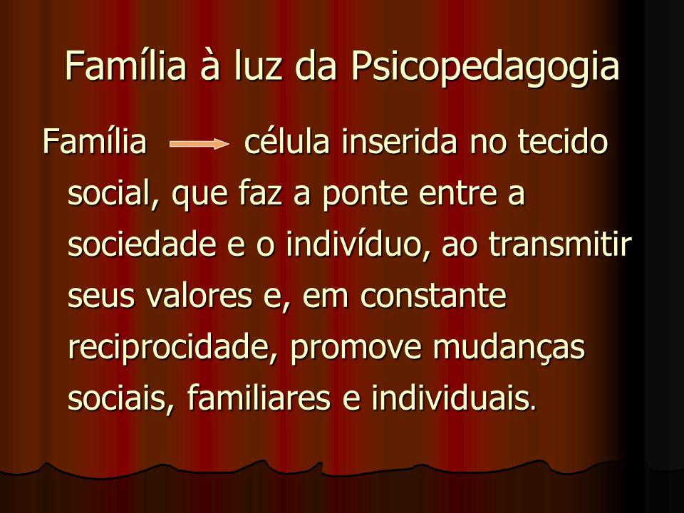 Família à luz da Psicopedagogia Família célula inserida no tecido social, que faz a ponte entre a sociedade e o indivíduo, ao transmitir seus valores e, em constante reciprocidade, promove mudanças sociais, familiares e individuais.