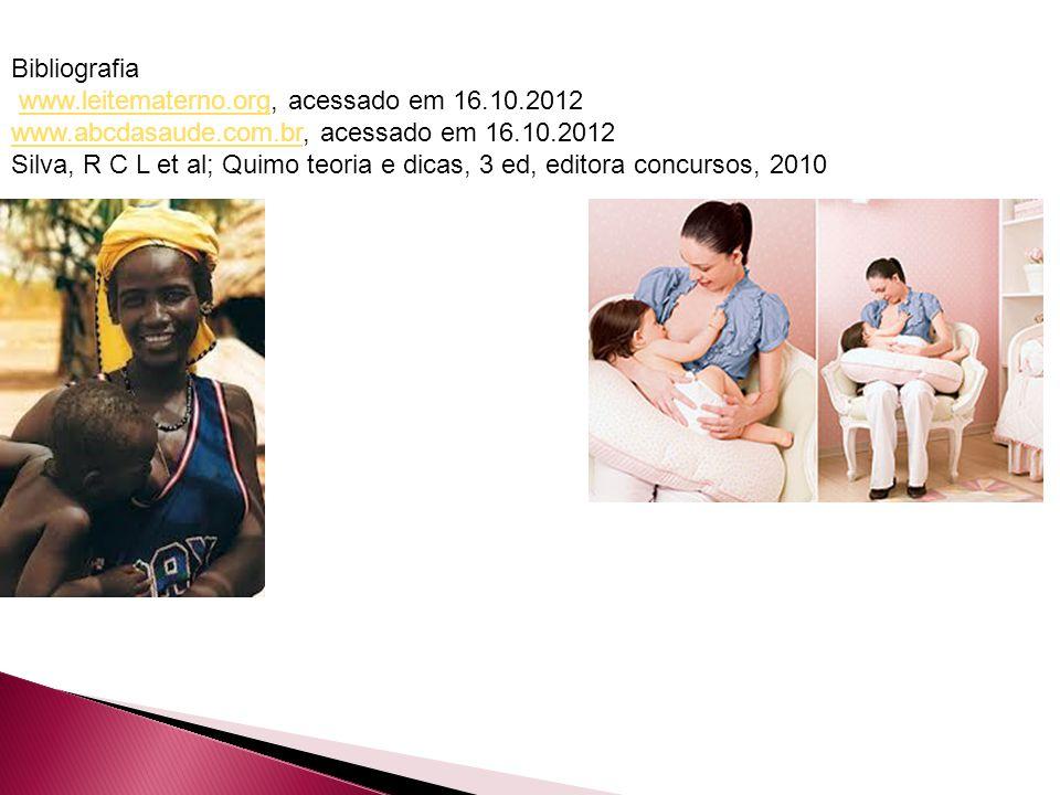 Bibliografia www.leitematerno.org, acessado em 16.10.2012www.leitematerno.org www.abcdasaude.com.brwww.abcdasaude.com.br, acessado em 16.10.2012 Silva, R C L et al; Quimo teoria e dicas, 3 ed, editora concursos, 2010