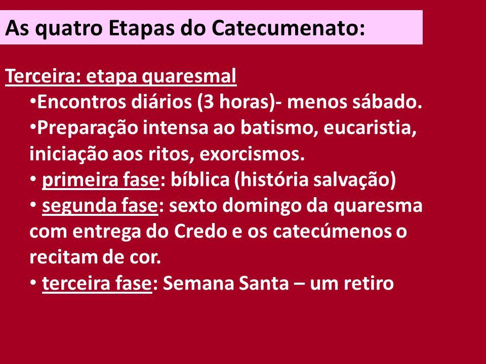 As quatro Etapas do Catecumenato: Terceira: etapa quaresmal Semana santa: - celebração da Entrega do Pai Nosso.