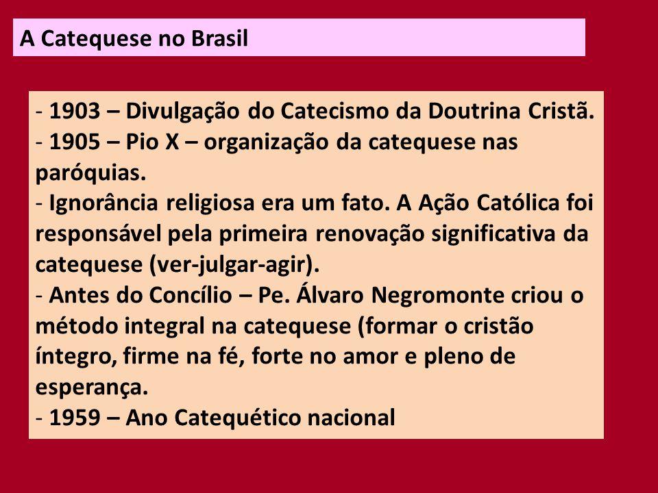 A Catequese no Brasil - 1983 – Catequese Renovada (destaque para a catequese com adultos).
