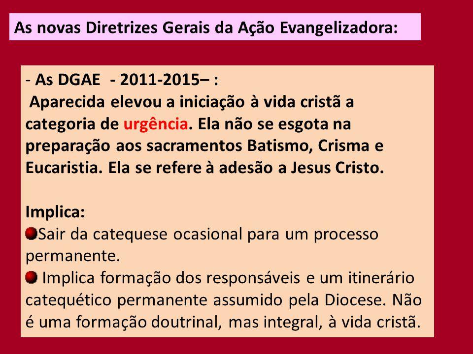 As novas Diretrizes Gerais da Ação Evangelizadora: - As DGAE - 2011-2015– : Implica: A comunidade é lugar de educação da fé, que precisa provocar o encontro com Jesus Cristo, a conversão, o discipulado, a comunhão e a missão.