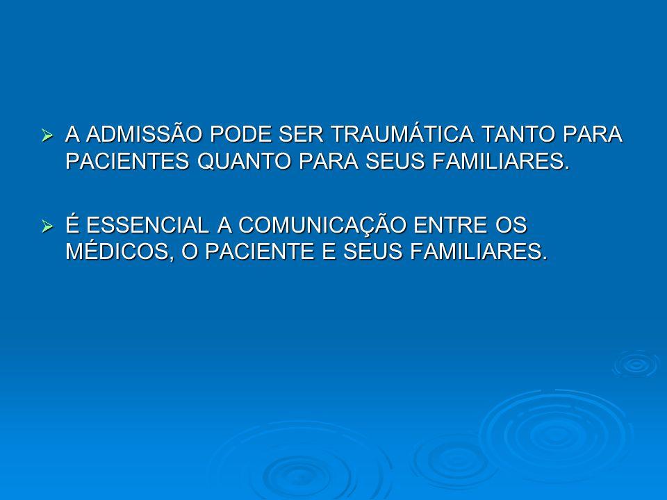  A ADMISSÃO PODE SER TRAUMÁTICA TANTO PARA PACIENTES QUANTO PARA SEUS FAMILIARES.  É ESSENCIAL A COMUNICAÇÃO ENTRE OS MÉDICOS, O PACIENTE E SEUS FAM