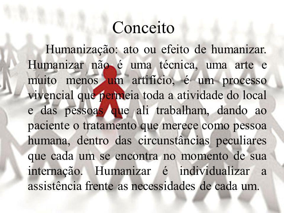 Conceito Humanização: ato ou efeito de humanizar.