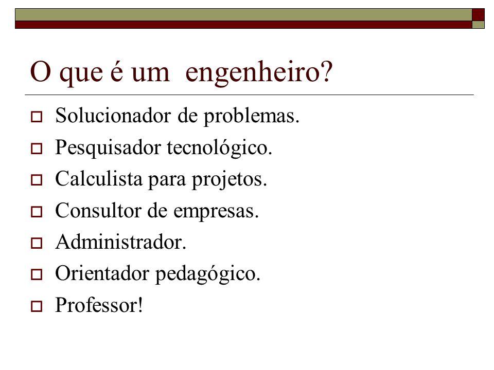 O que é um engenheiro.  Solucionador de problemas.