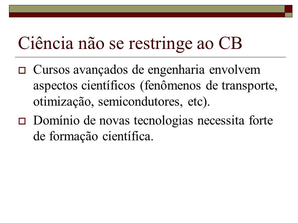Ciência não se restringe ao CB  Cursos avançados de engenharia envolvem aspectos científicos (fenômenos de transporte, otimização, semicondutores, etc).
