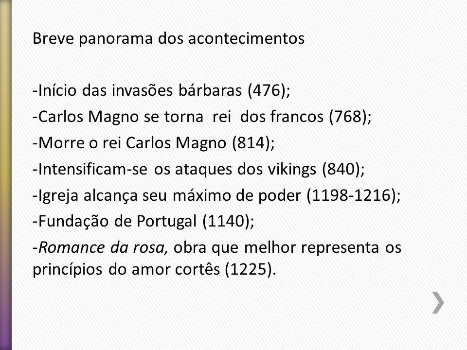 Breve panorama dos acontecimentos -Início das invasões bárbaras (476); -Carlos Magno se torna rei dos francos (768); -Morre o rei Carlos Magno (814);