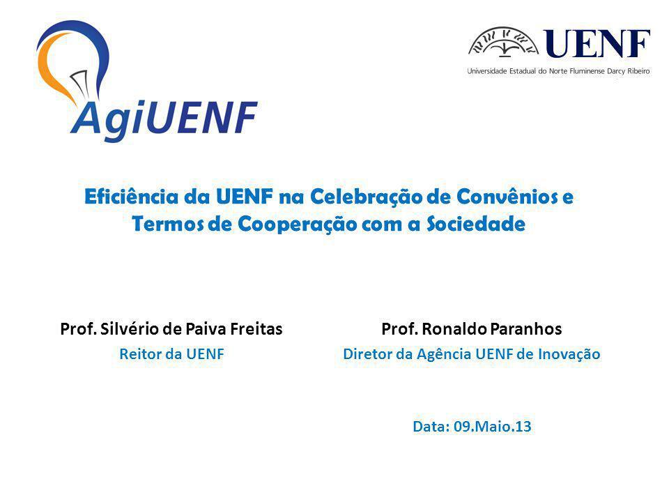 Eficiência da UENF na Celebração de Convênios e Termos de Cooperação com a Sociedade Prof.
