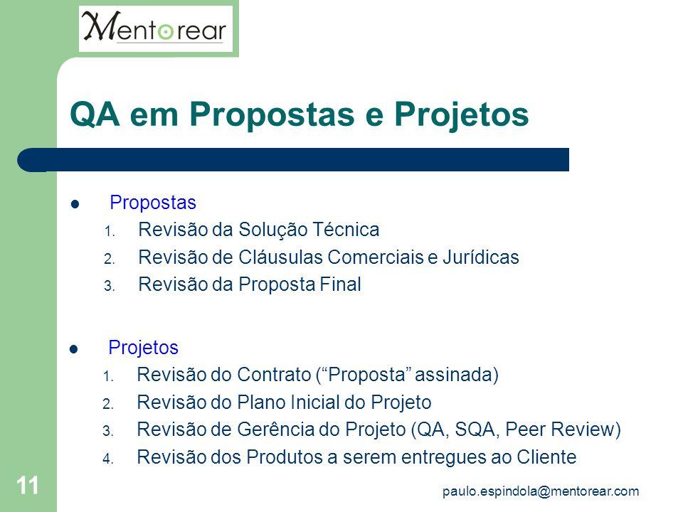 11 QA em Propostas e Projetos Propostas 1. Revisão da Solução Técnica 2. Revisão de Cláusulas Comerciais e Jurídicas 3. Revisão da Proposta Final Proj