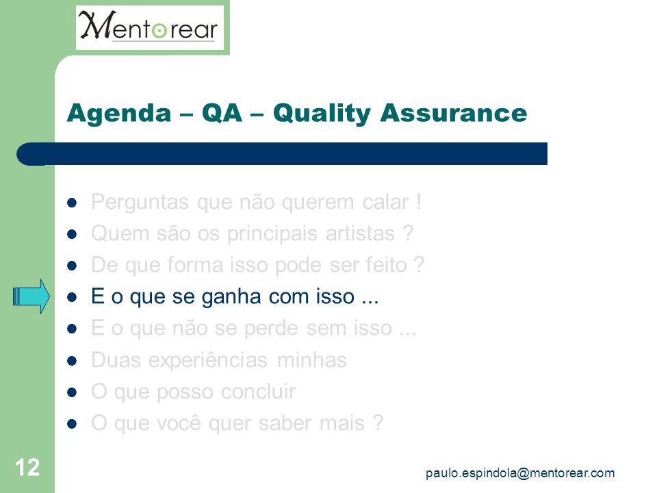 12 Agenda – QA – Quality Assurance Perguntas que não querem calar ! Quem são os principais artistas ? De que forma isso pode ser feito ? E o que se ga