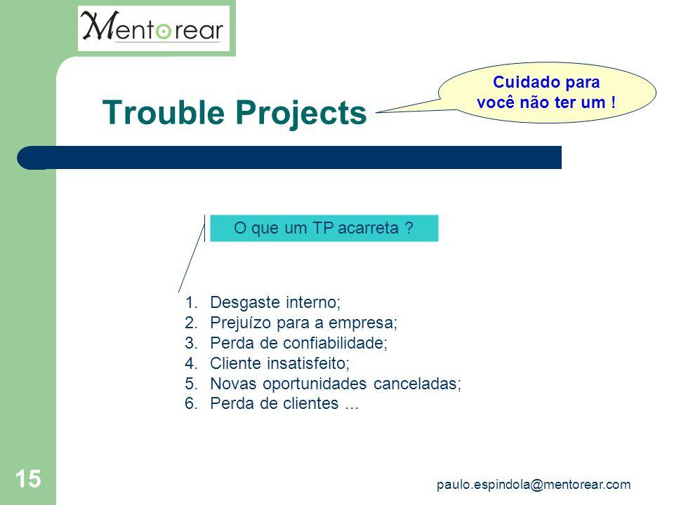 15 Trouble Projects Cuidado para você não ter um ! O que um TP acarreta ? 1.Desgaste interno; 2.Prejuízo para a empresa; 3.Perda de confiabilidade; 4.