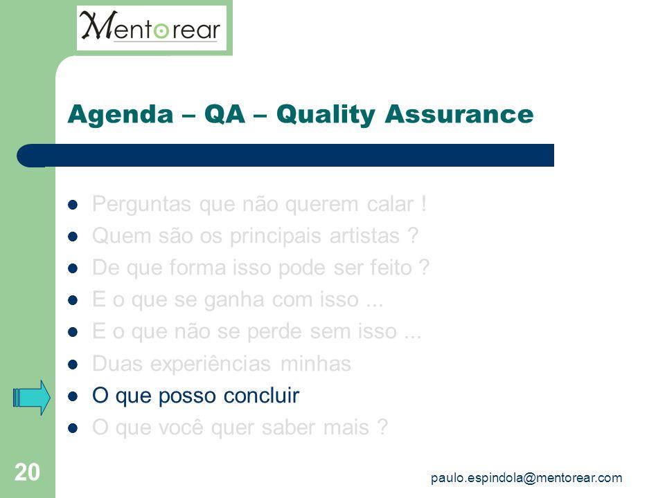 20 Agenda – QA – Quality Assurance Perguntas que não querem calar ! Quem são os principais artistas ? De que forma isso pode ser feito ? E o que se ga