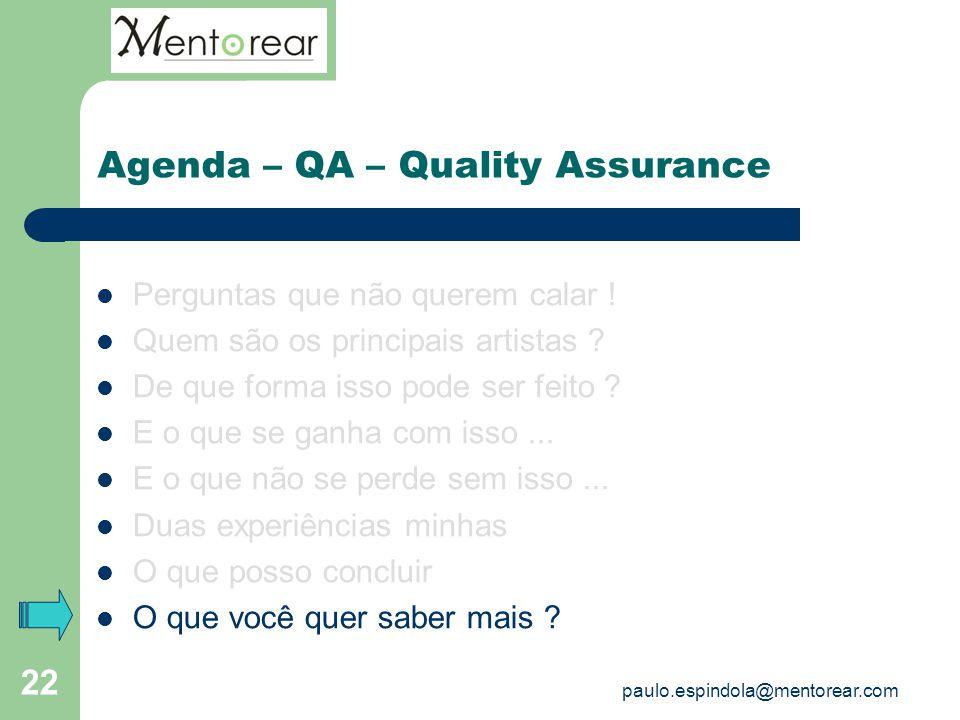 22 Agenda – QA – Quality Assurance Perguntas que não querem calar ! Quem são os principais artistas ? De que forma isso pode ser feito ? E o que se ga