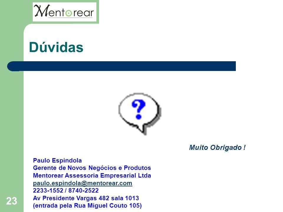 23 Dúvidas Paulo Espindola Gerente de Novos Negócios e Produtos Mentorear Assessoria Empresarial Ltda paulo.espindola@mentorear.com 2233-1552 / 8740-2