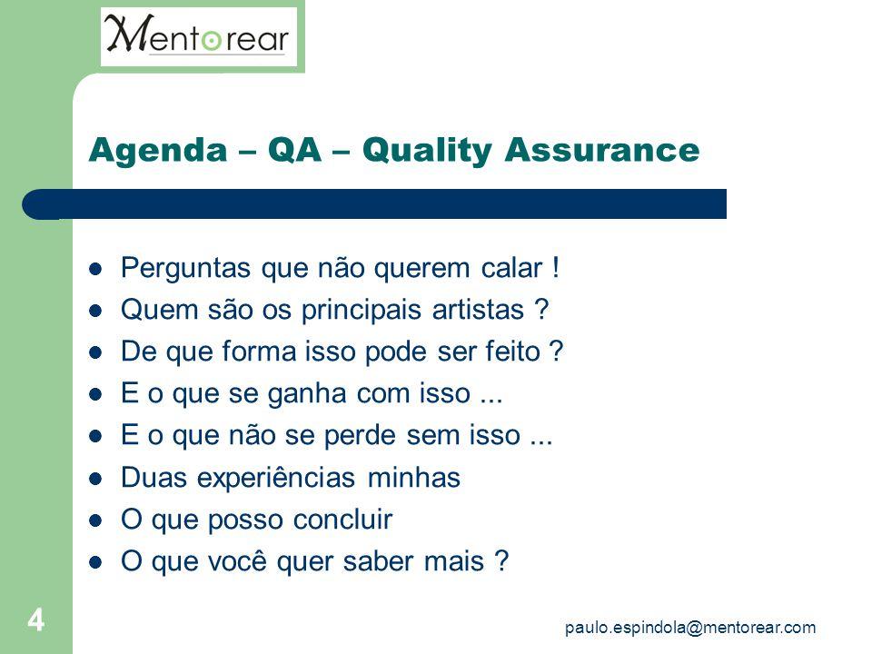 4 Agenda – QA – Quality Assurance Perguntas que não querem calar ! Quem são os principais artistas ? De que forma isso pode ser feito ? E o que se gan