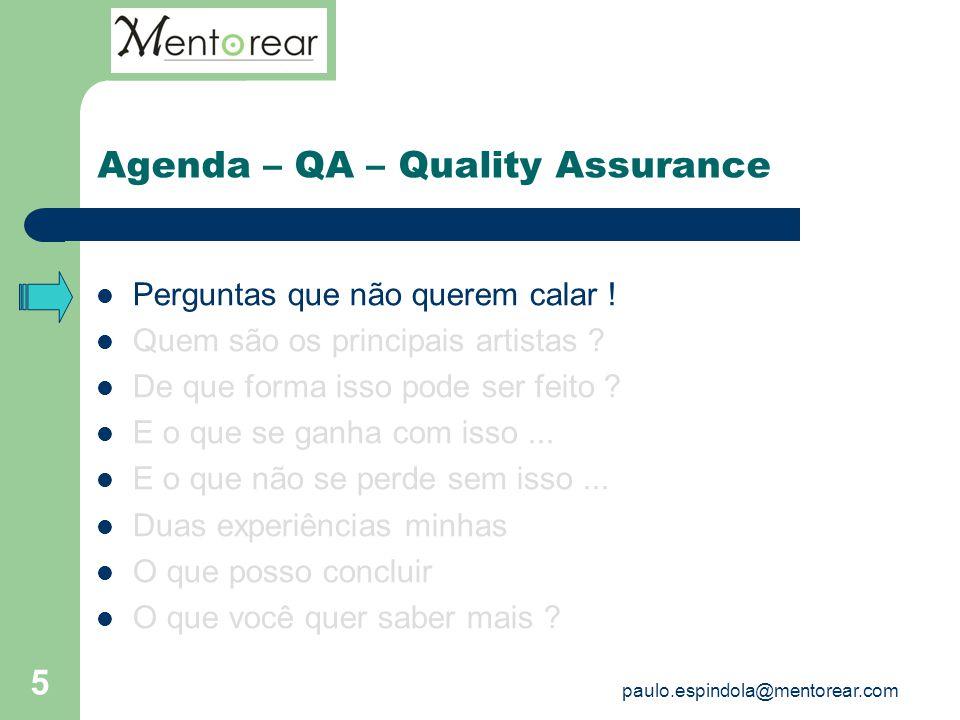 5 Agenda – QA – Quality Assurance Perguntas que não querem calar ! Quem são os principais artistas ? De que forma isso pode ser feito ? E o que se gan