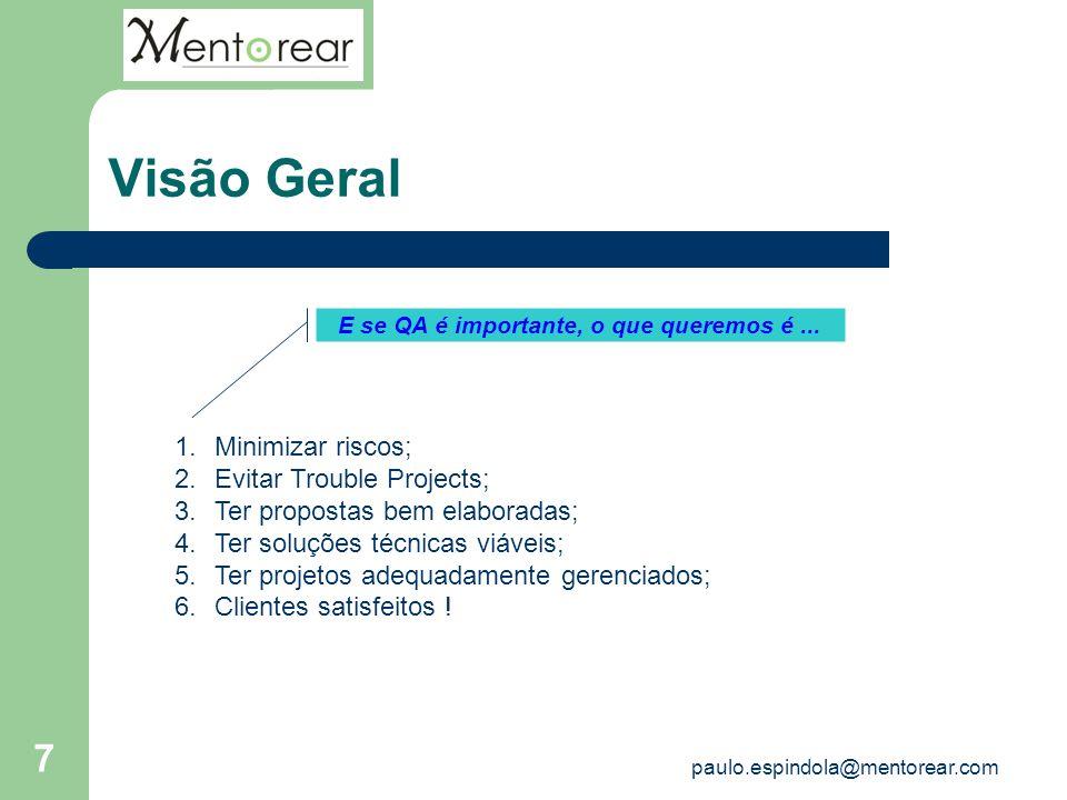 7 Visão Geral E se QA é importante, o que queremos é... 1.Minimizar riscos; 2.Evitar Trouble Projects; 3.Ter propostas bem elaboradas; 4.Ter soluções
