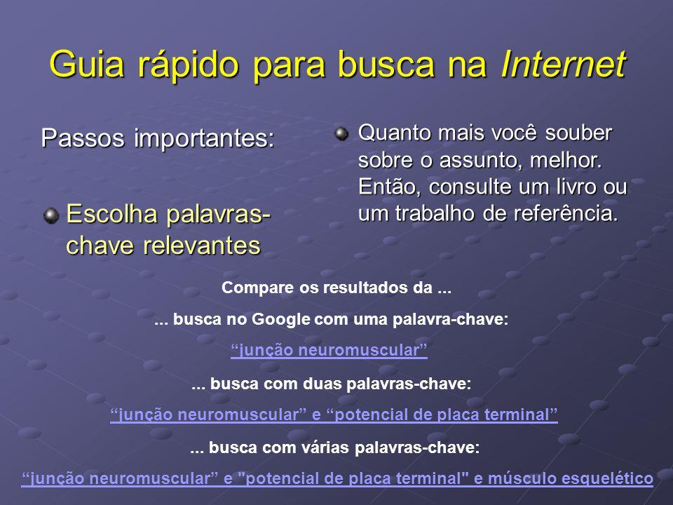 """Guia rápido para busca na Internet Passos importantes: Escolha palavras- chave relevantes... busca no Google com uma palavra-chave: """"junção neuromuscu"""