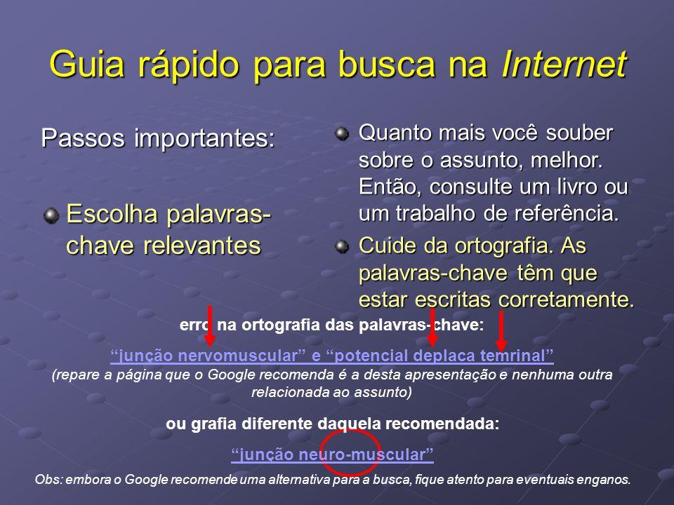 """Guia rápido para busca na Internet Passos importantes: Escolha palavras- chave relevantes erro na ortografia das palavras-chave: """"junção nervomuscular"""
