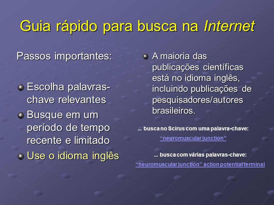 Guia rápido para busca na Internet Passos importantes: Escolha palavras- chave relevantes Busque em um período de tempo recente e limitado Use o idioma inglês A maioria das publicações científicas está no idioma inglês, incluindo publicações de pesquisadores/autores brasileiros.