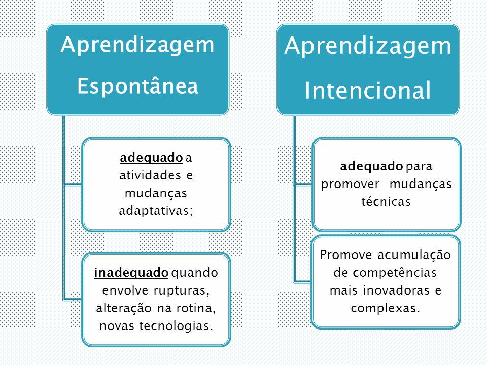 Aprendizagem Espontânea adequado a atividades e mudanças adaptativas; inadequado quando envolve rupturas, alteração na rotina, novas tecnologias.
