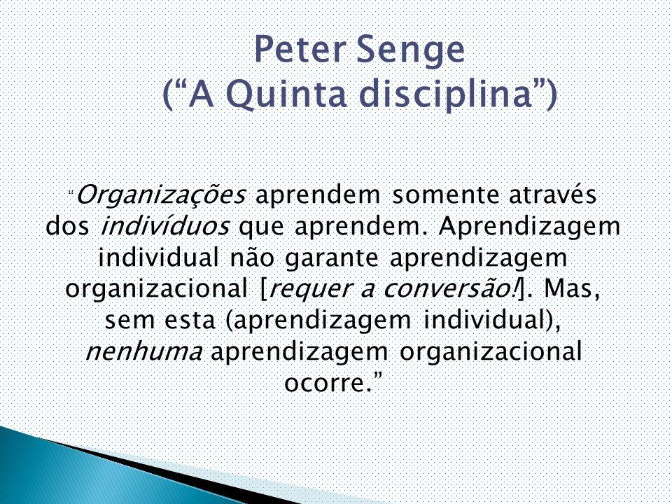 Organizações aprendem somente através dos indivíduos que aprendem.