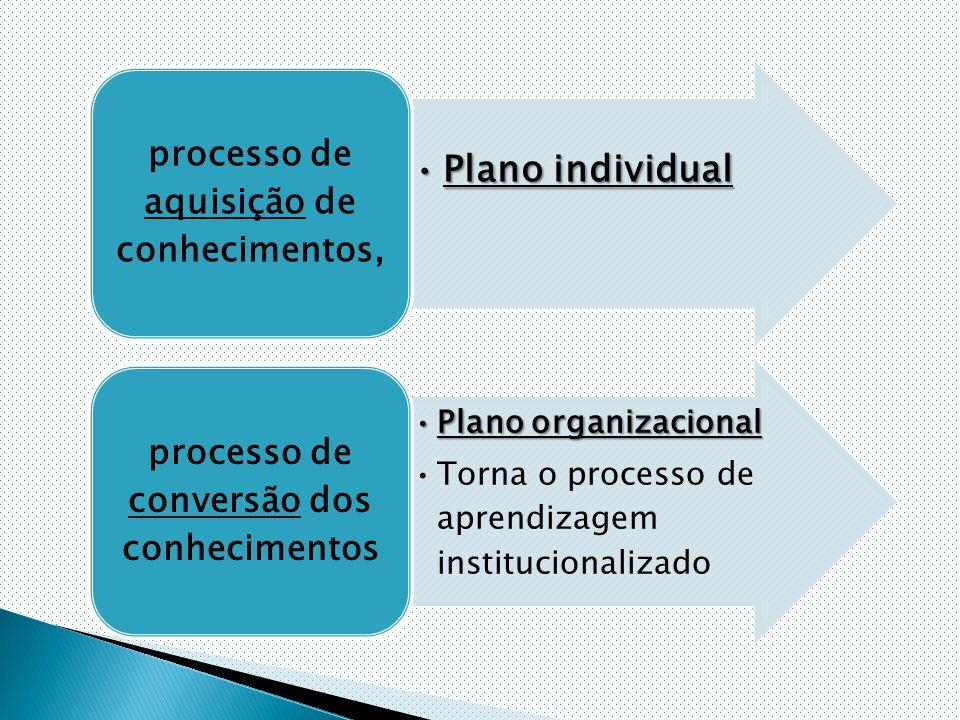 Plano individualPlano individual processo de aquisição de conhecimentos, Plano organizacionalPlano organizacional Torna o processo de aprendizagem institucionalizado processo de conversão dos conhecimentos