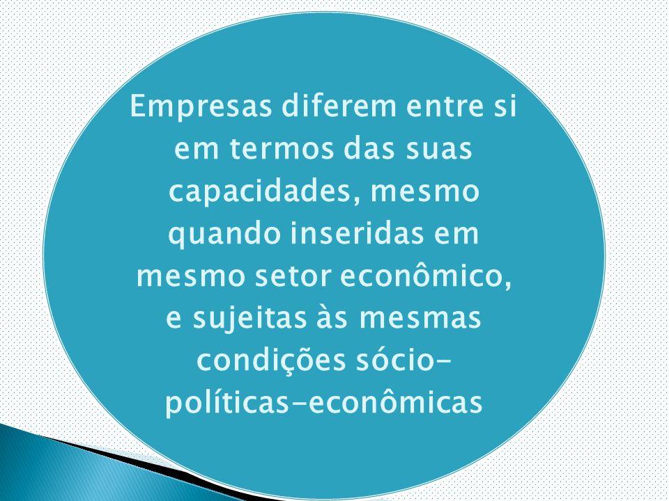 Empresas diferem entre si em termos das suas capacidades, mesmo quando inseridas em mesmo setor econômico, e sujeitas às mesmas condições sócio- políticas-econômicas