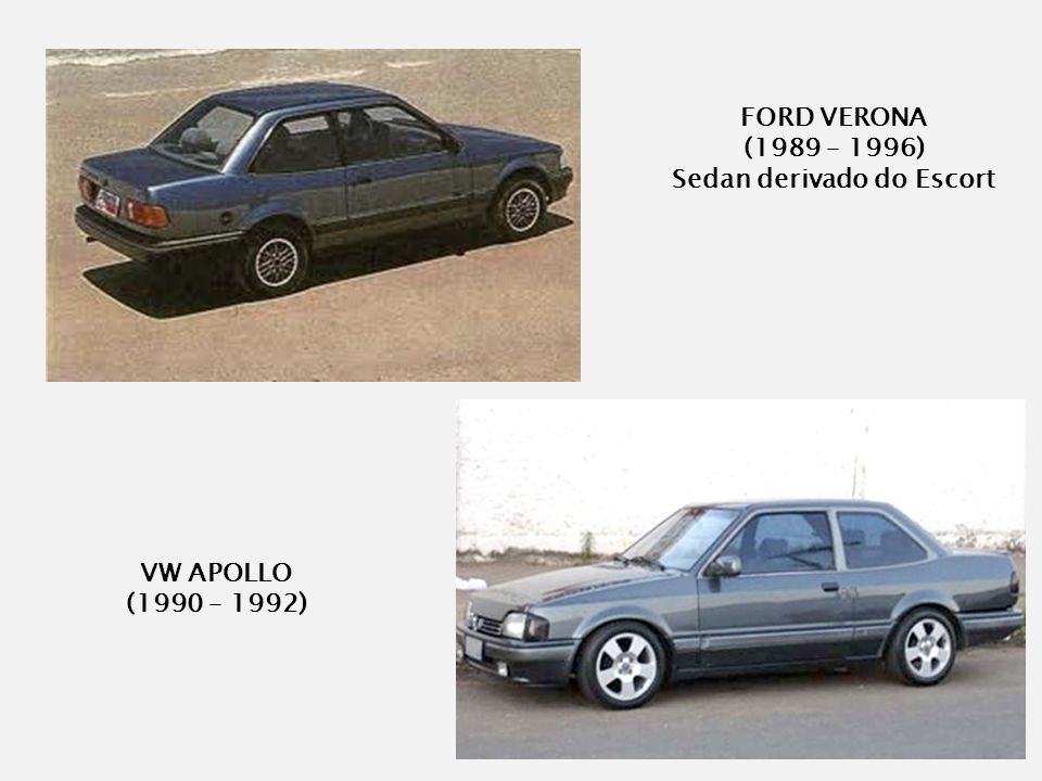 VW APOLLO (1990 – 1992) FORD VERONA (1989 – 1996) Sedan derivado do Escort