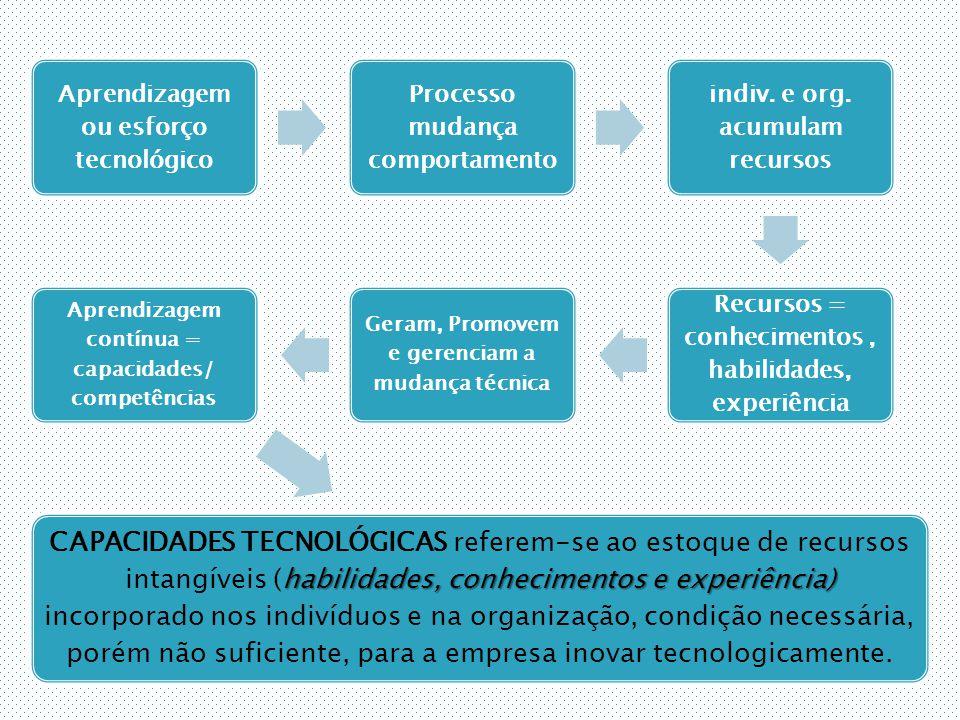 Aprendizagem ou esforço tecnológico Processo mudança comportamento indiv.