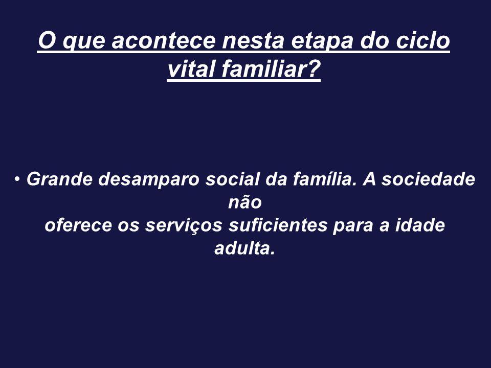 Grande desamparo social da família. A sociedade não oferece os serviços suficientes para a idade adulta. O que acontece nesta etapa do ciclo vital fam