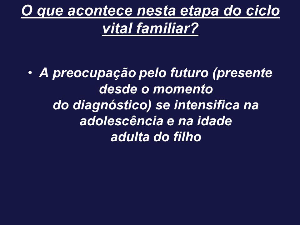A preocupação pelo futuro (presente desde o momento do diagnóstico) se intensifica na adolescência e na idade adulta do filho