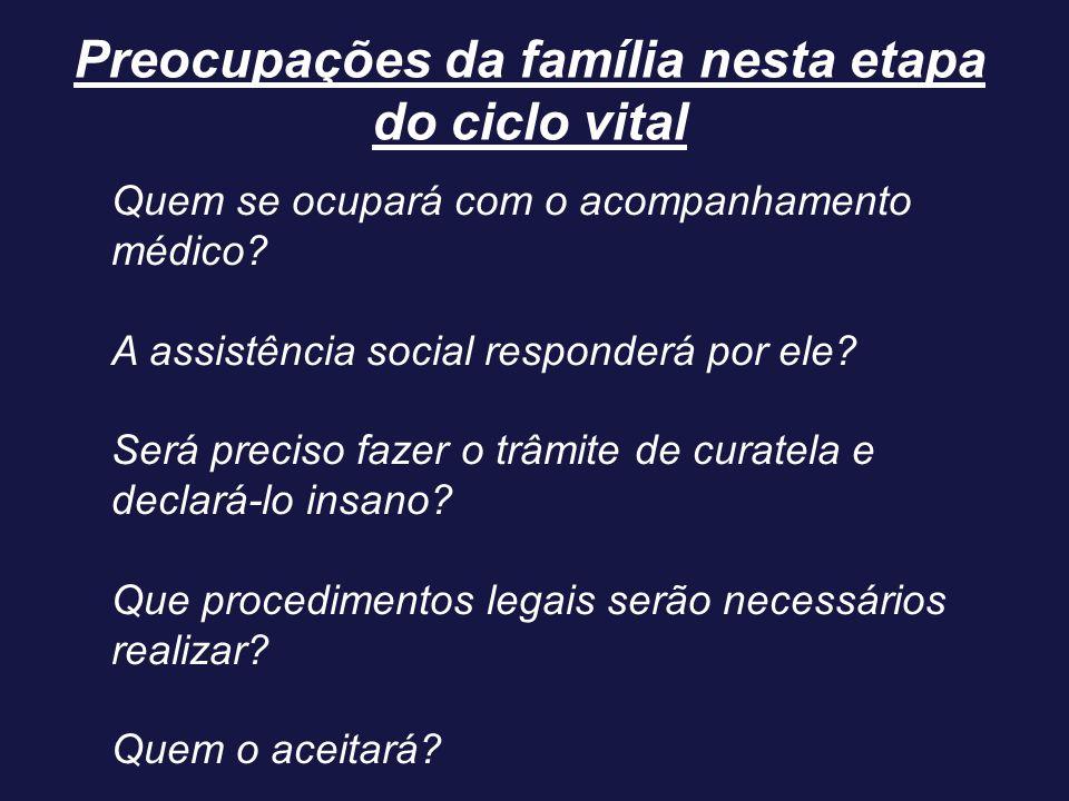 Preocupações da família nesta etapa do ciclo vital Quem se ocupará com o acompanhamento médico? A assistência social responderá por ele? Será preciso