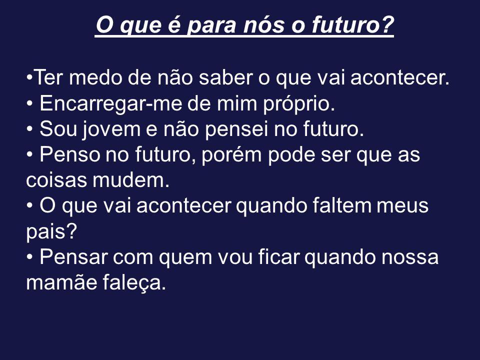 O que é para nós o futuro? Ter medo de não saber o que vai acontecer. Encarregar-me de mim próprio. Sou jovem e não pensei no futuro. Penso no futuro,